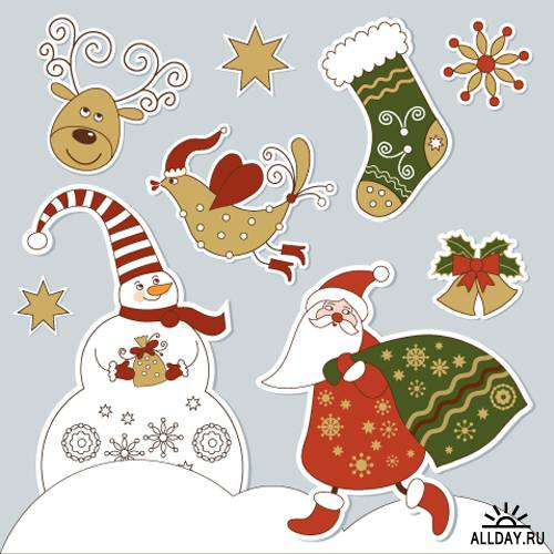 Новый год и Рождество - красивые и интересные векторные картинки 23