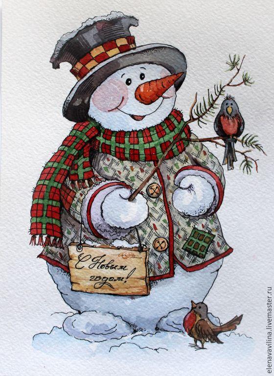 Самые красивые рисунки на Новый год и зиму - подборка 9
