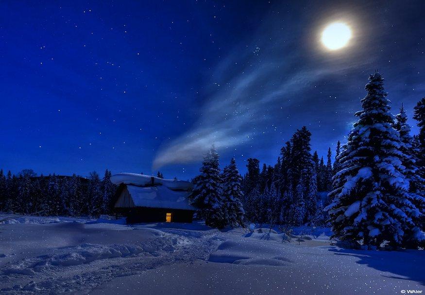 Зимняя ночь картинки красивые и удивительные - подборка 20 фото 6
