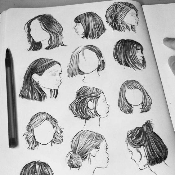 Красивые идеи причесок для срисовки, коллекция 20 картинок 1