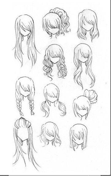 Красивые идеи причесок для срисовки, коллекция 20 картинок 14