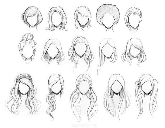 Красивые идеи причесок для срисовки, коллекция 20 картинок 4