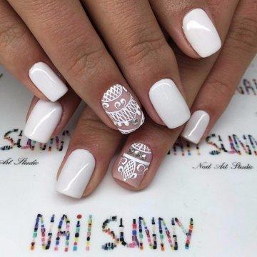 Красивые фото дизайна белых ногтей - подборка 25 картинок 14