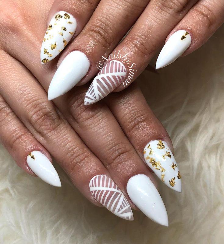Красивые фото дизайна белых ногтей - подборка 25 картинок 24