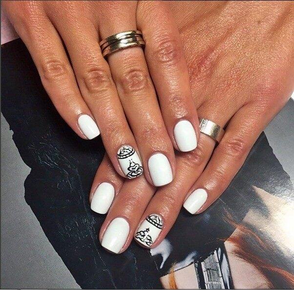 Красивые фото дизайна белых ногтей - подборка 25 картинок 8
