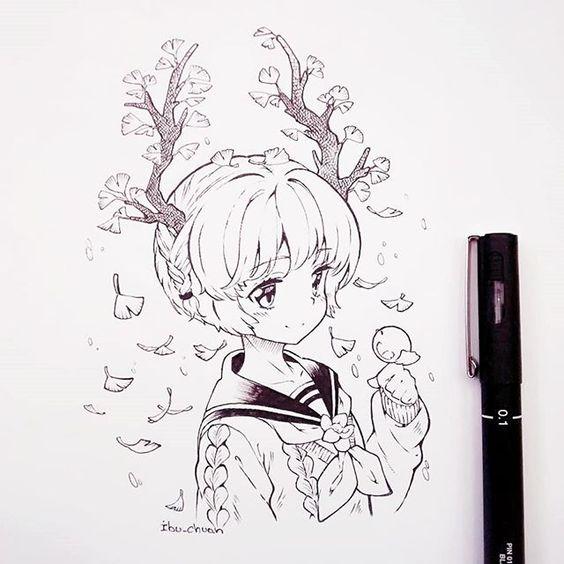 Прикольные и красивые аниме рисунки, картинки для срисовки 13