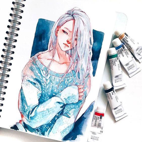 Самые красивые нарисованные арт картинки девушек - сборка 25 фото 12