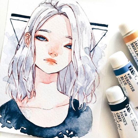 Самые красивые нарисованные арт картинки девушек - сборка 25 фото 18