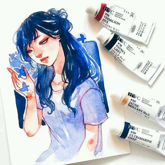 Самые красивые нарисованные арт картинки девушек - сборка 25 фото 19