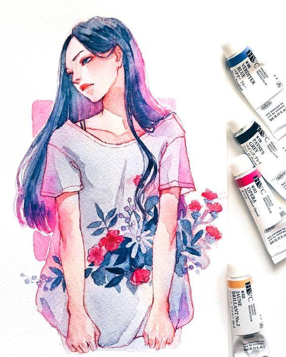 Самые красивые нарисованные арт картинки девушек - сборка 25 фото 20