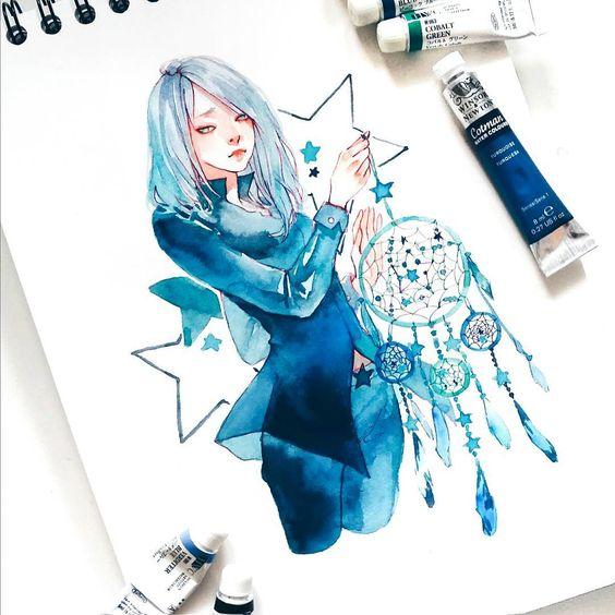 Самые красивые нарисованные арт картинки девушек - сборка 25 фото 23