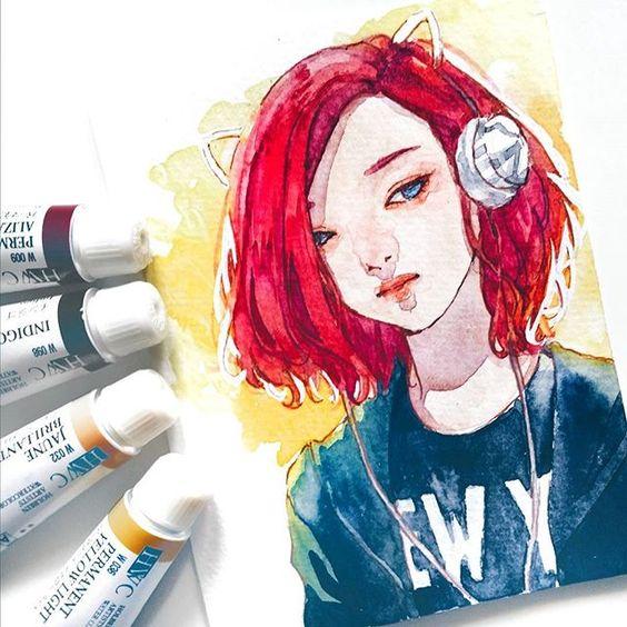Самые красивые нарисованные арт картинки девушек - сборка 25 фото 4