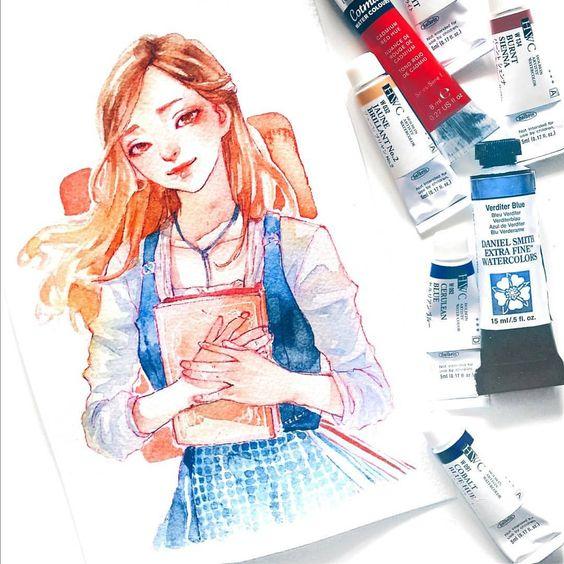 Самые красивые нарисованные арт картинки девушек - сборка 25 фото 8