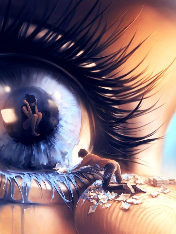 Красивые арт аниме картинки глаза девушек, их лицо - подборка 10