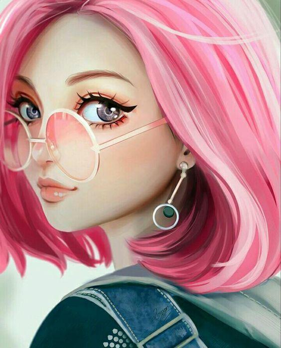 Красивые арт аниме картинки глаза девушек, их лицо - подборка 14