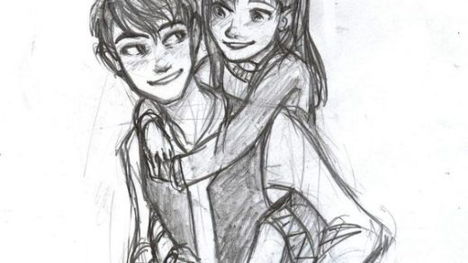 Он и она   картинки карандашом, очень милые рисунки (18)