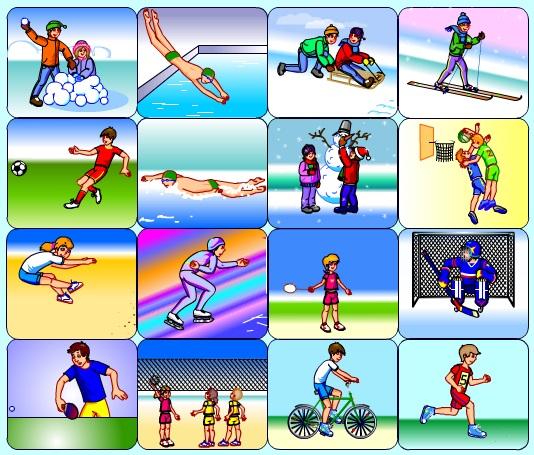 после картинки виды спорта для английского есть снежная краска