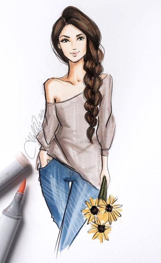 Картинки девушки нарисованные карандашом в полный рост - сборка 25 фото (4)