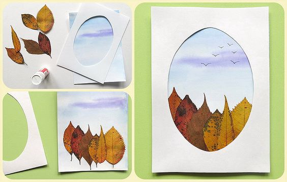 Красивые картины и аппликации из листьев своими руками (12)