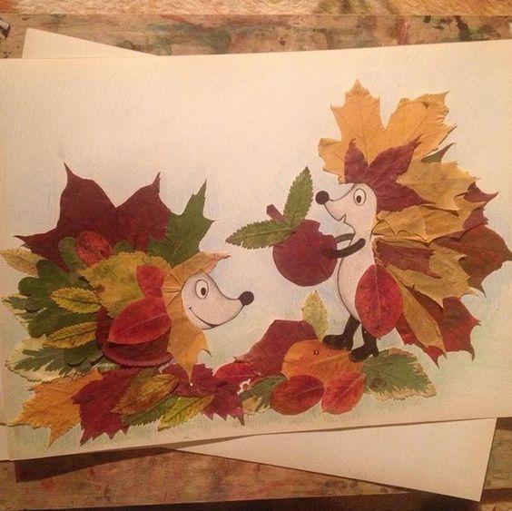 Красивые картины и аппликации из листьев своими руками (14)