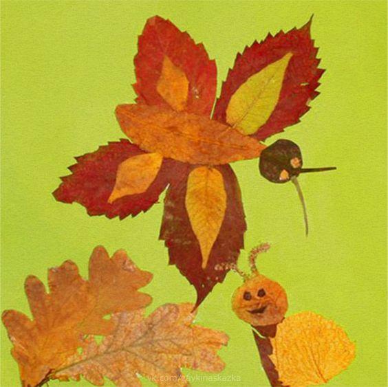 Красивые картины и аппликации из листьев своими руками (2)