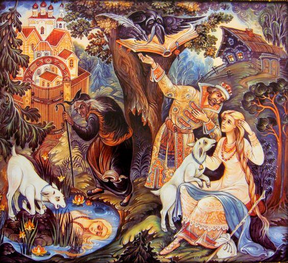 Красивые рисунки о Мёртвой царевне и о семи богатырях (1)