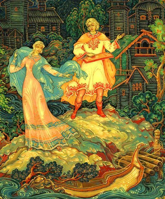 Красивые рисунки о Мёртвой царевне и о семи богатырях (10)