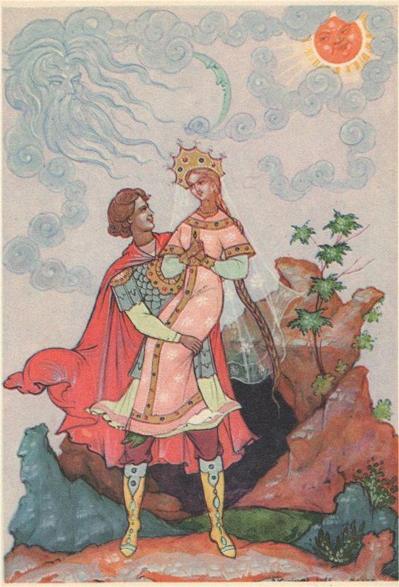 Красивые рисунки о Мёртвой царевне и о семи богатырях (16)