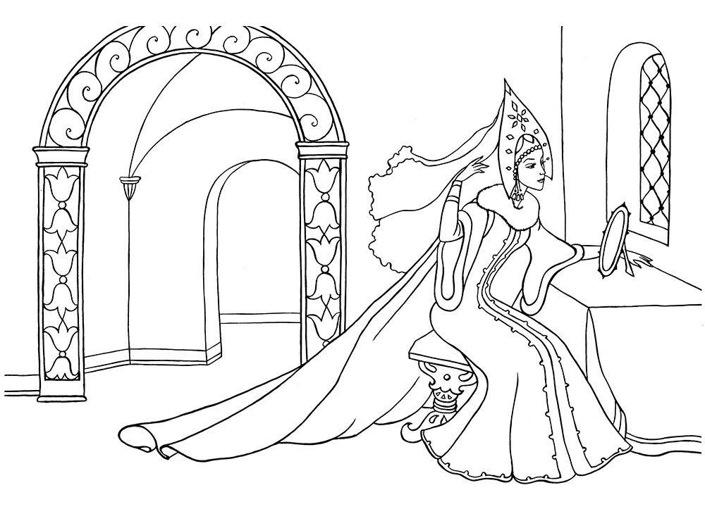 Красивые рисунки о Мёртвой царевне и о семи богатырях (18)