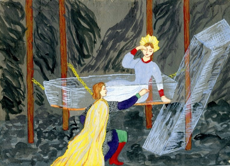 Красивые рисунки о Мёртвой царевне и о семи богатырях (19)
