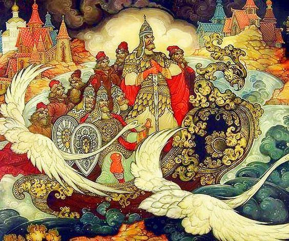Красивые рисунки о Мёртвой царевне и о семи богатырях (4)