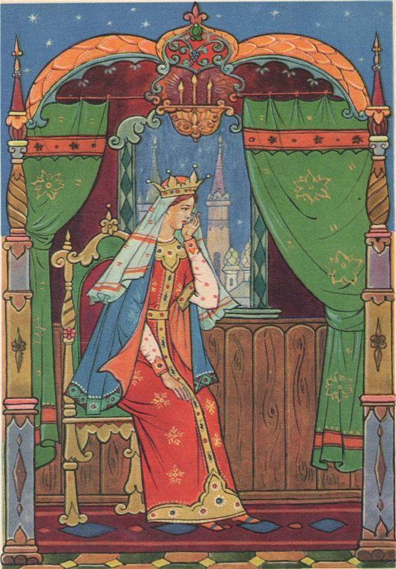Красивые рисунки о Мёртвой царевне и о семи богатырях (5)