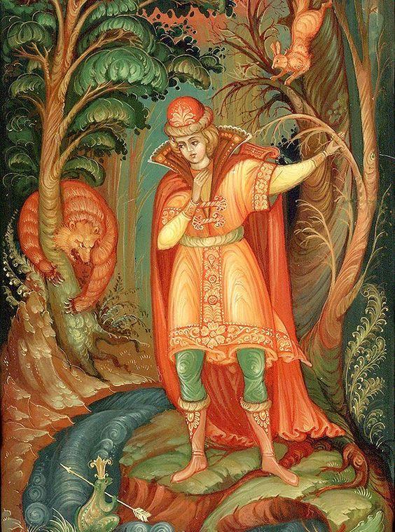 Красивые рисунки о Мёртвой царевне и о семи богатырях (7)