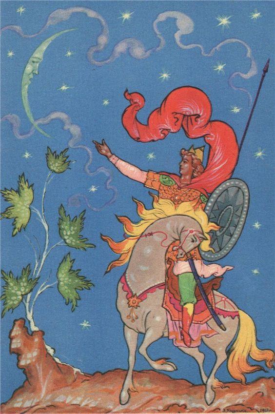 Красивые рисунки о Мёртвой царевне и о семи богатырях (8)