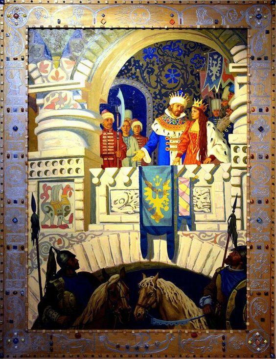 Красивые рисунки о Мёртвой царевне и о семи богатырях (9)