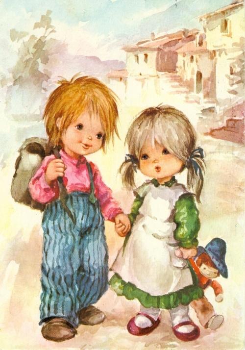 Картинки с детьми рисованные (17)