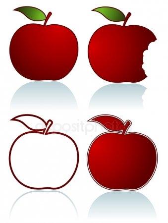 Красивые картинки яблоко на прозрачном фоне014