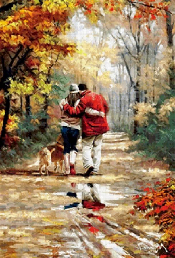 Пара в парке осенью 013