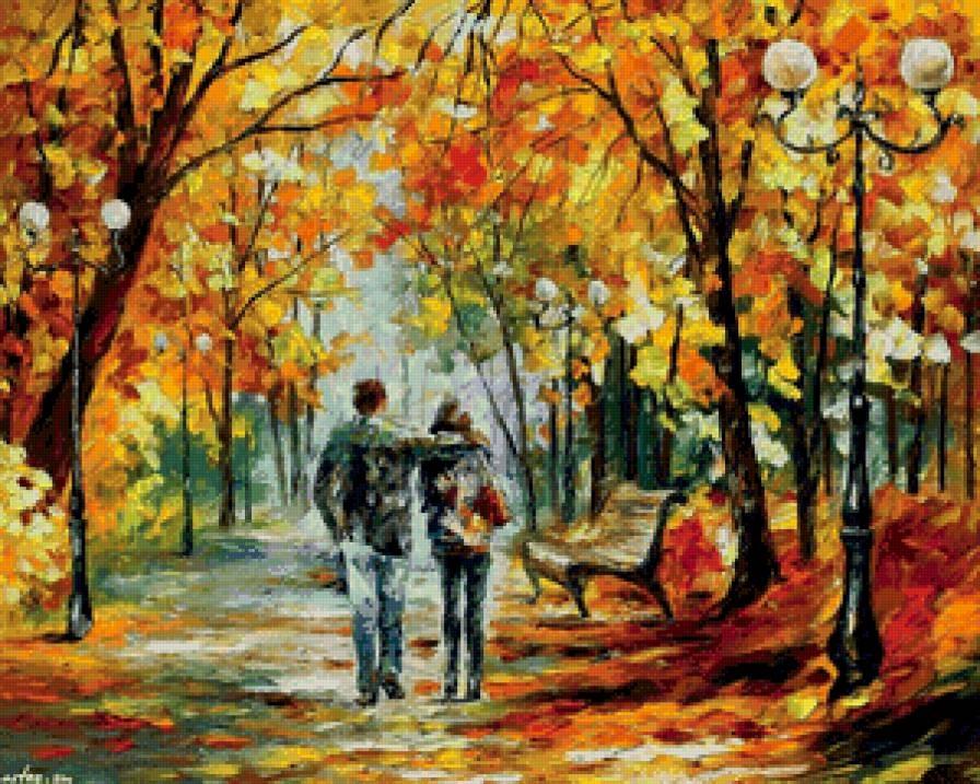 Пара в парке осенью 020