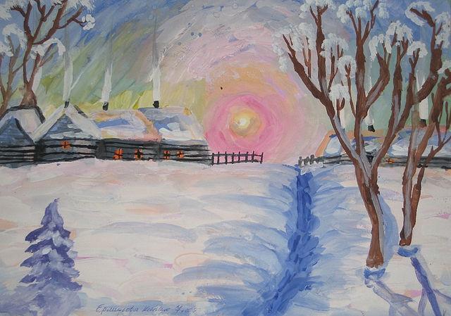 Рисунок на тему зимний вечер001