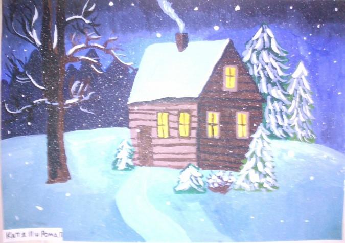 Рисунок на тему зимний вечер002
