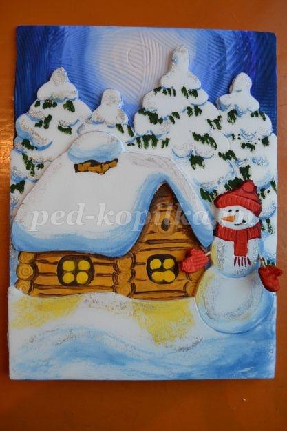 Рисунок на тему зимний вечер003