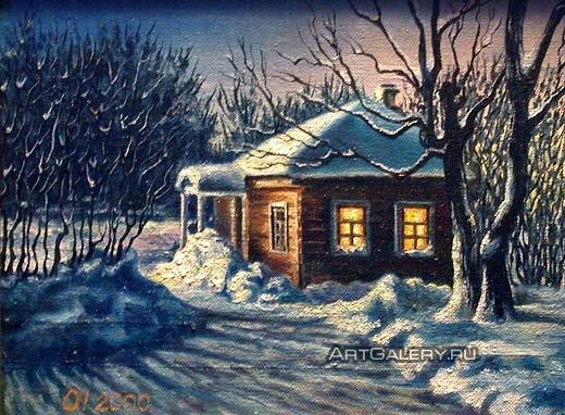 Рисунок на тему зимний вечер004