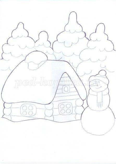 Рисунок на тему зимний вечер005