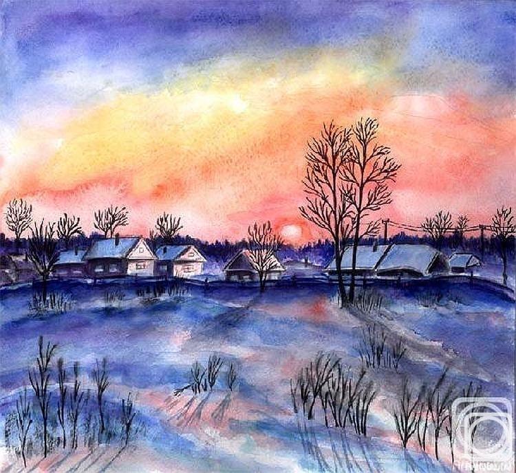 Рисунок на тему зимний вечер006