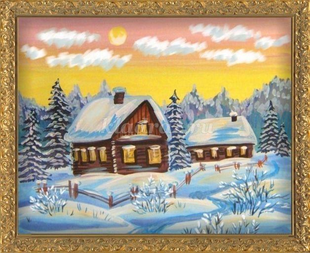 Рисунок на тему зимний вечер008