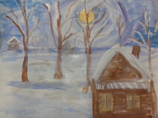 Рисунок на тему зимний вечер011