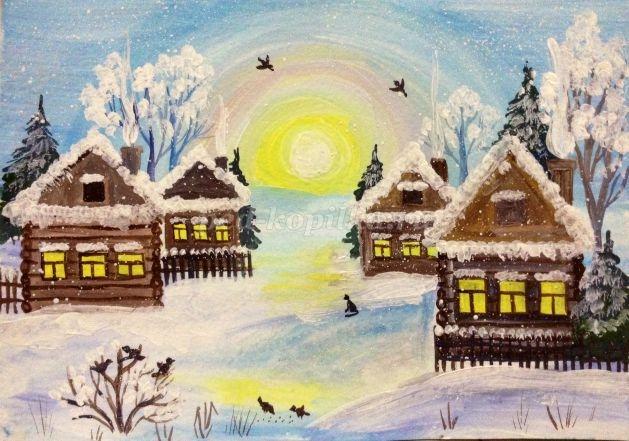 Рисунок на тему зимний вечер012
