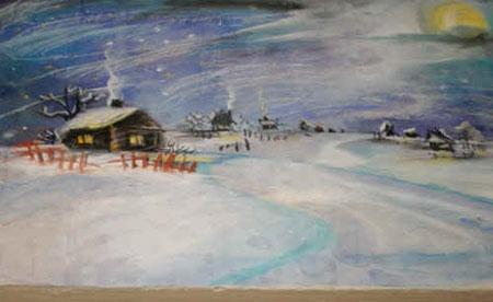 Рисунок на тему зимний вечер013