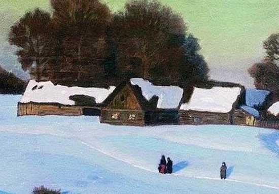 Рисунок на тему зимний вечер014